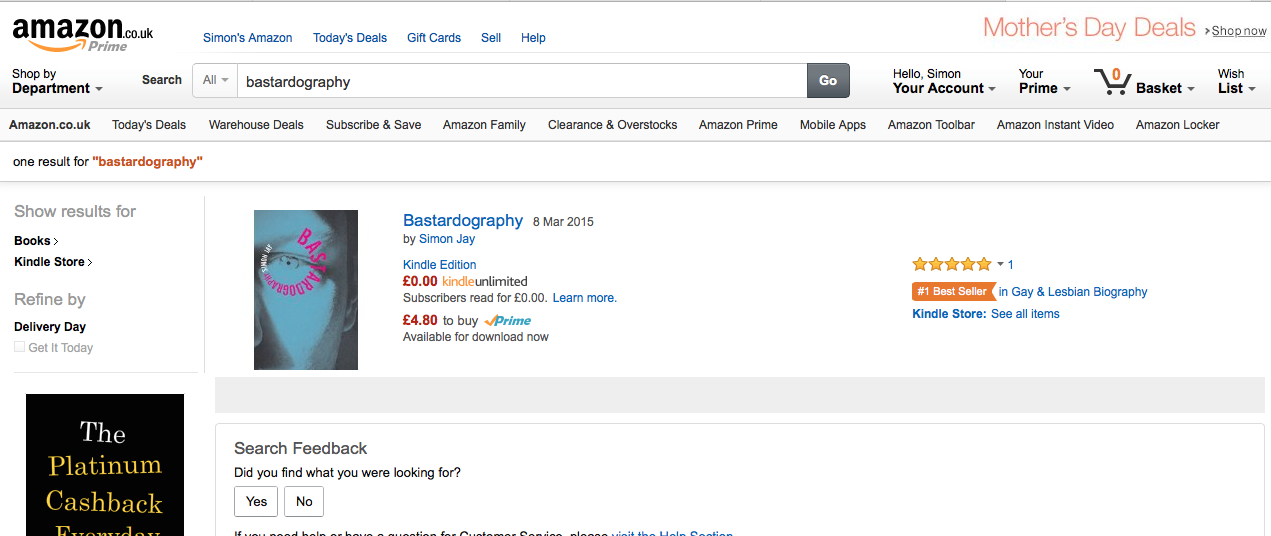 NO.1 on Amazon UK Gay & Lesbian Biography Bestseller Chart